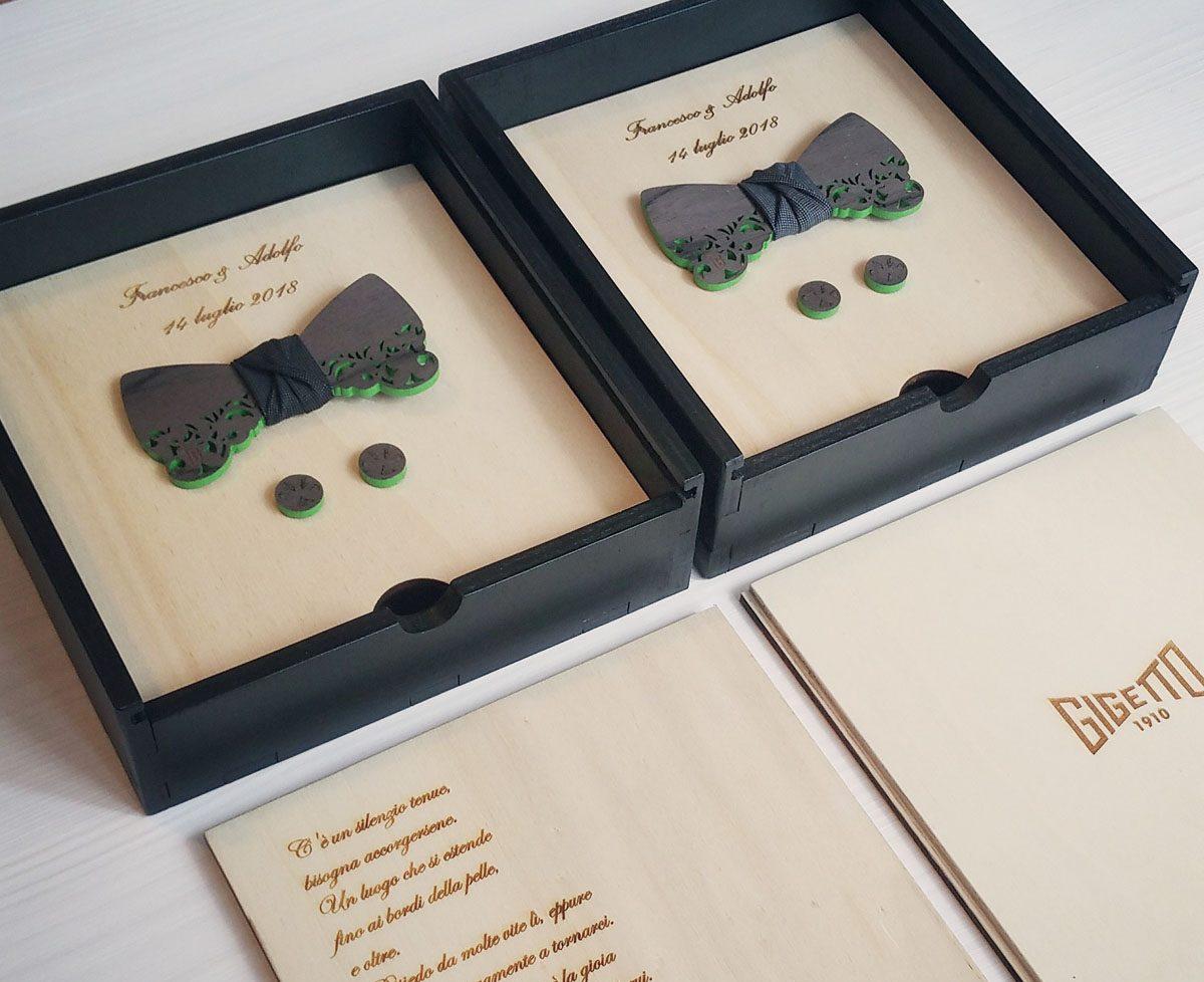 papillon legno scatola confezione regalo gigetto