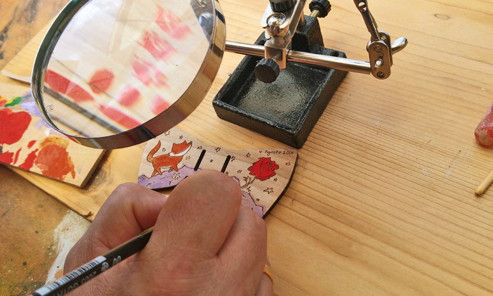 papillon legno personalizzato dipinto a mano Gigetto