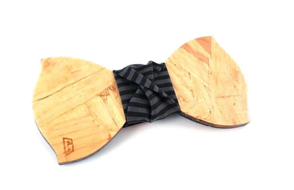 papillon legno GIGETTO1910 Eclettico riciclato grigio righe