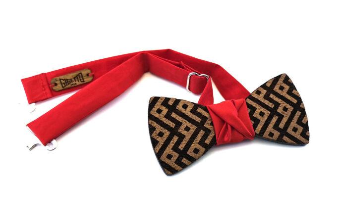 papillon legno Gigetto farfallino geometrico raso rosso