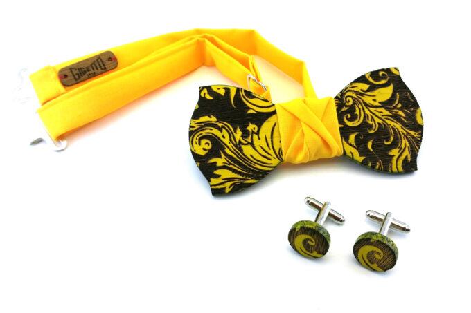 papillon legno gemelli foglia barocco giallo
