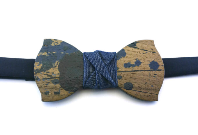 gigetto papillon legno action painting blu classico jeans