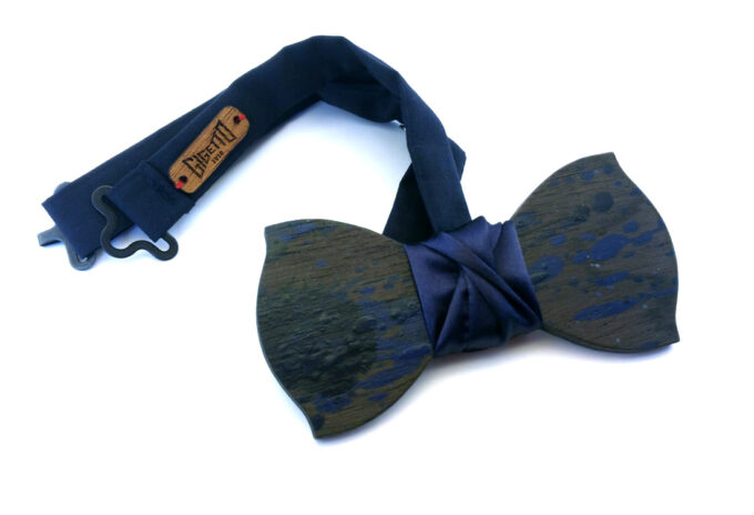 papillon in legno action painting blu gigetto2