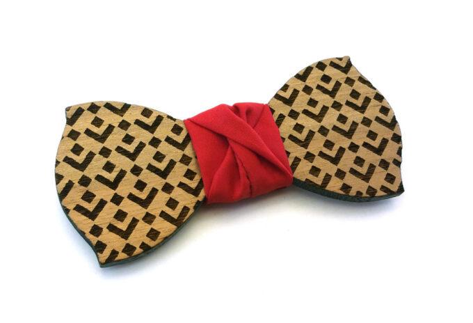 papillon legno quadrati rosso gigetto