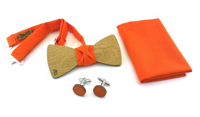 papillon legno gemelli fazzoletto taschino arancione gigetto