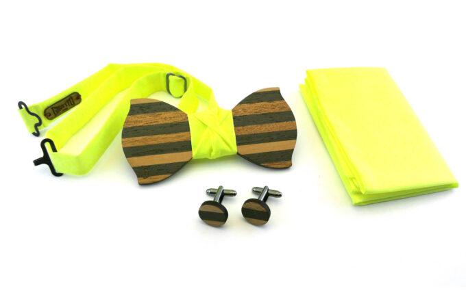 papillon legno gemelli fazzoletto taschino giallo fluo gigetto