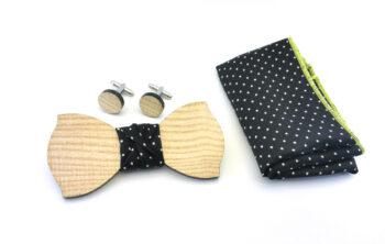 papillon legno gemelli fazzoletto taschino nero gigetto