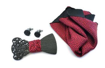 papillon legno gemelli fazzoletto taschino rosso pois nero gigetto