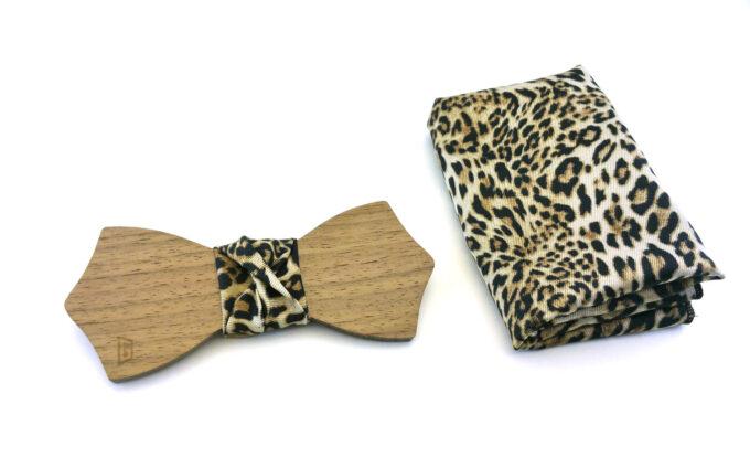 papillon legno noce fazzoletto taschino leopardato gigetto