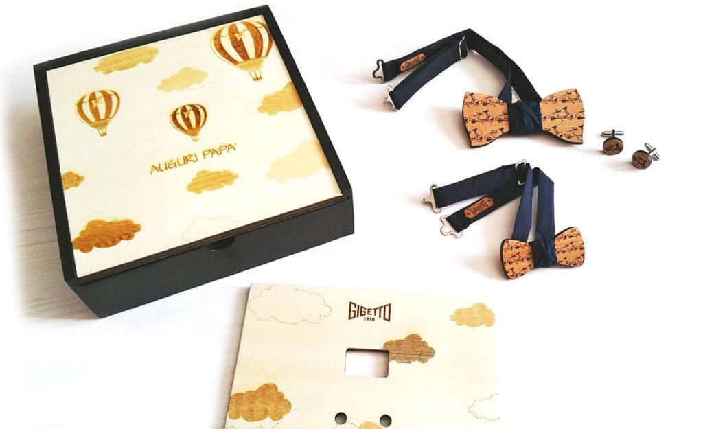 papillon legno scatola gemelli regalo auguri babbo gigetto