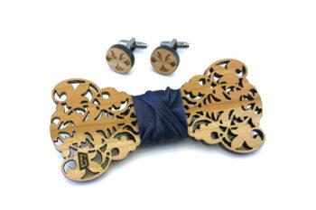 papillon gemelli legno barocco ciliegio blu Gigetto