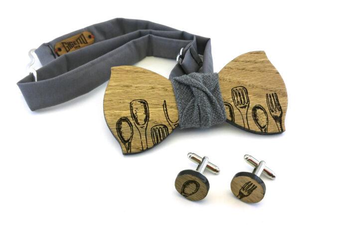 papillon gemelli legno chef grigio Gigetto