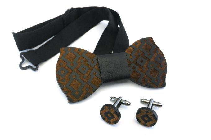 papillon gemelli legno geometrico nero Gigetto