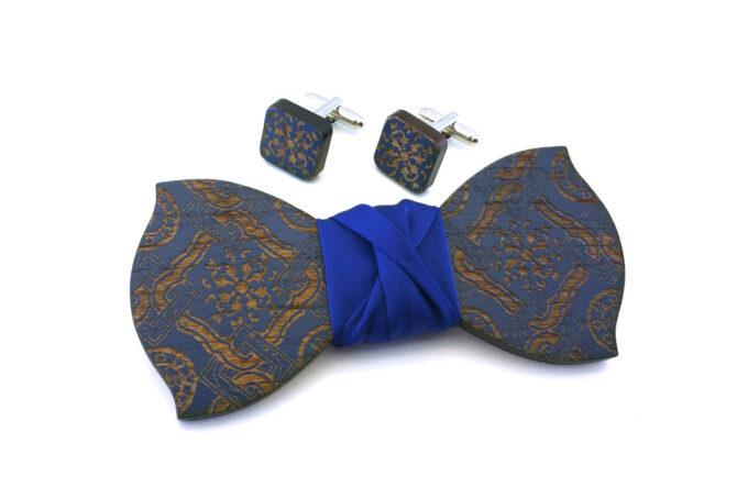 papillon gemelli legno maiolica blu Gigetto