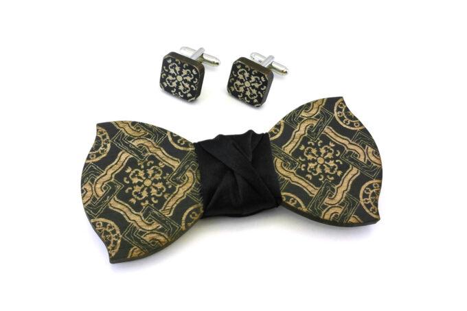 papillon gemelli legno maiolica nero Gigetto