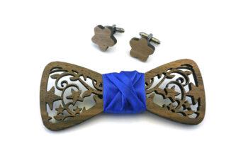 papillon gemelli legno traforato stelle blu Gigetto