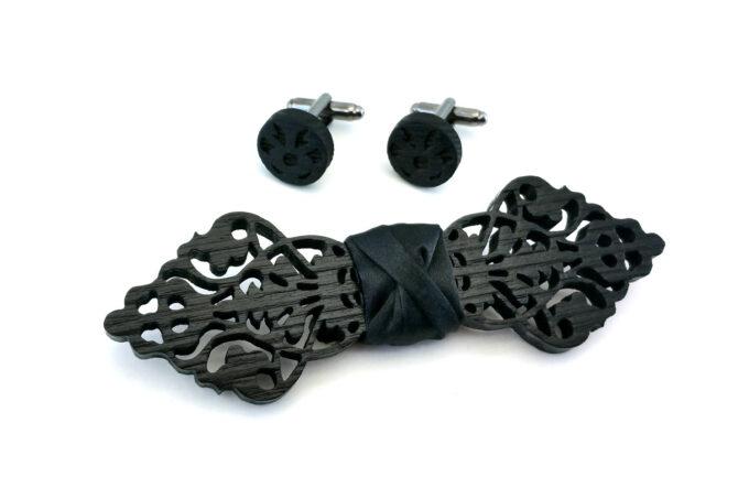 papillon in legno gemelli nero uomo barocco gioiello elegante matrimonio gigetto