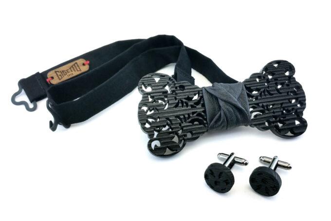 papillon in legno gemelli nero uomo barocco traforato elegante matrimonio gigetto