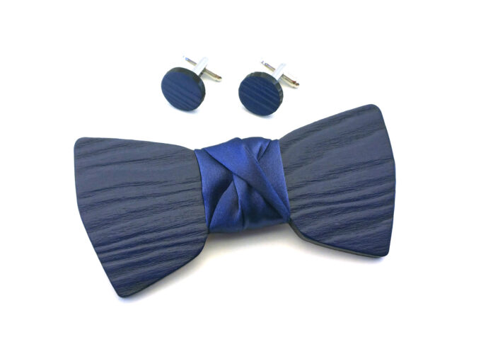 papillon legno gemelli elegante blu Gigetto matrimonio cerimonia