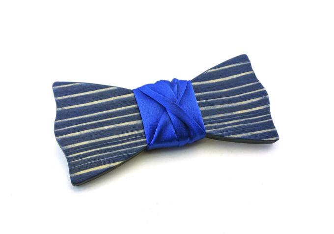 papillon legno striato blu Gigetto