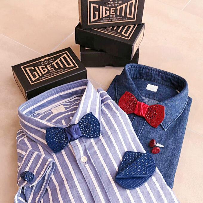 papillon in legno strass rosso nero gemelli Gigetto camicia jeans
