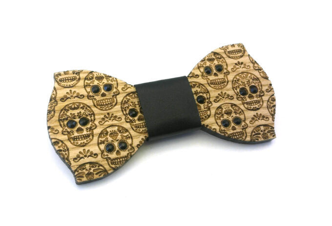 papillon legno frassino teschio messico strass nero