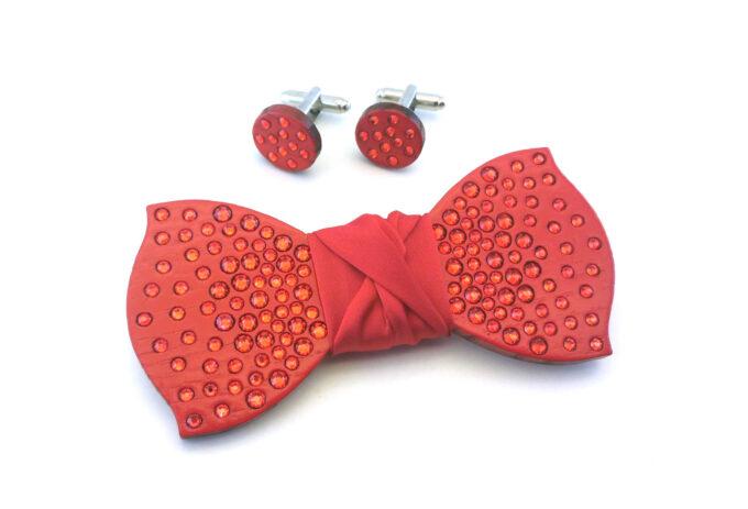 papillon legno strass rosso acceso gemelli Gigetto