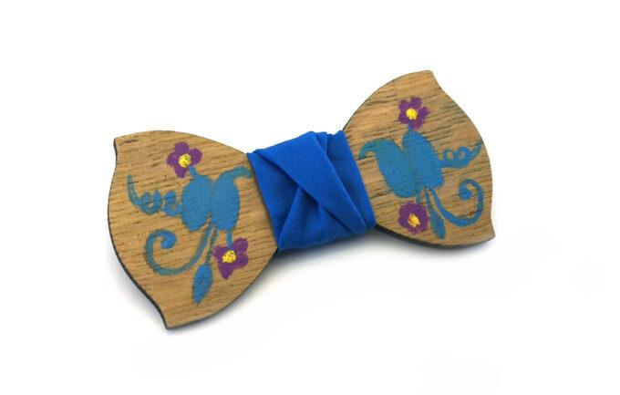 papillon legno Gigetto dipinto a mano blu fiori Oscar