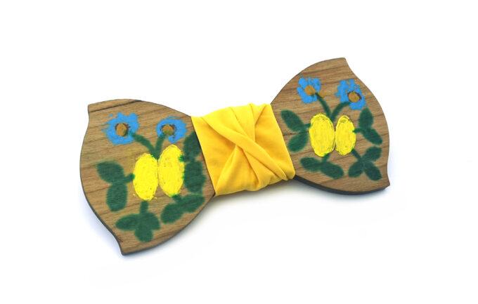 papillon legno Gigetto dipinto a mano giallo fiori Oscar