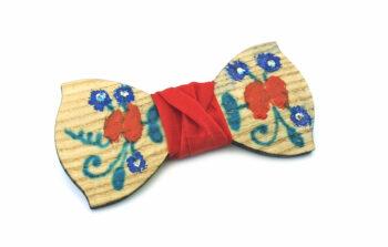papillon legno Gigetto dipinto a mano rosso fiori Oscar