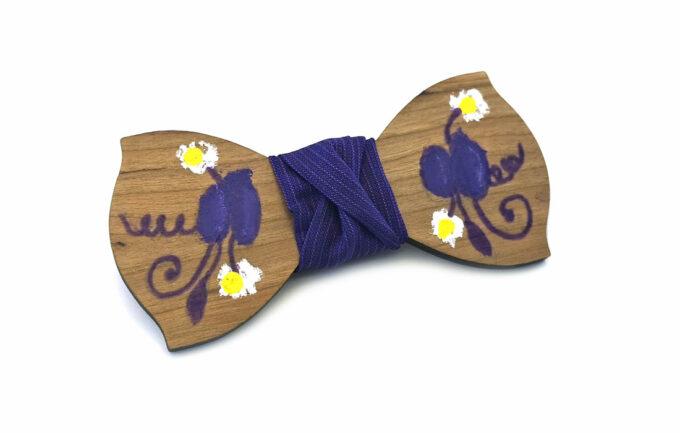 papillon legno Gigetto dipinto a mano viola fiori Oscar