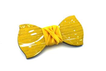 papillon legno Gigetto farfallino schizzi vernice giallo bianco