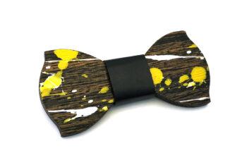 papillon legno Gigetto farfallino action painting giallo nero bianco