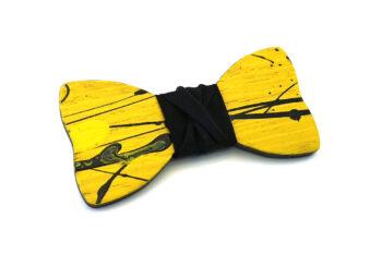 papillon legno Gigetto farfallino action painting giallo nero