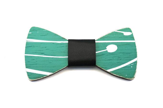 papillon legno Gigetto farfallino action painting verde bianco