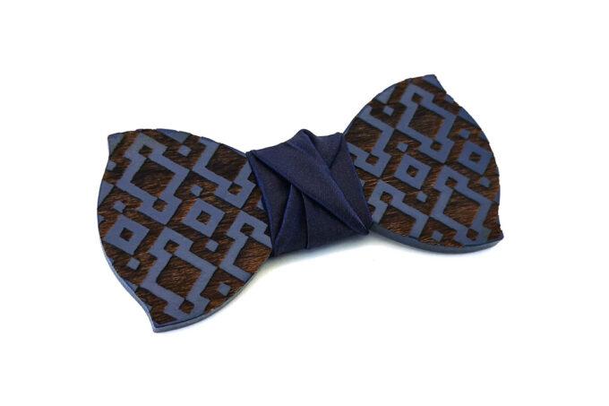papillon legno Gigetto farfallino blu rombi raso