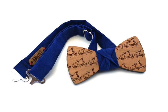 papillon legno Gigetto farfallino ciliegio vespette blu cotone