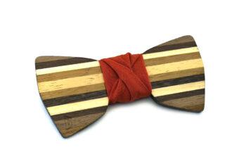 papillon legno Gigetto farfallino dandy ruggine cotone