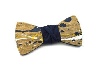 papillon legno Gigetto farfallino schizzi colore giallo bianco blu