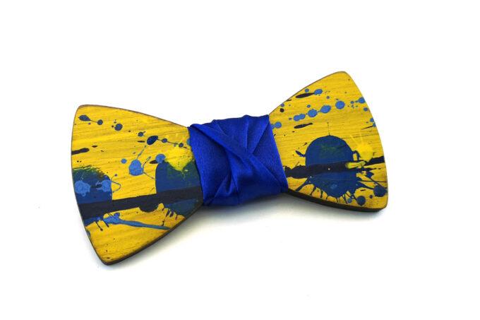 papillon legno Gigetto farfallino schizzi vernice giallo blu