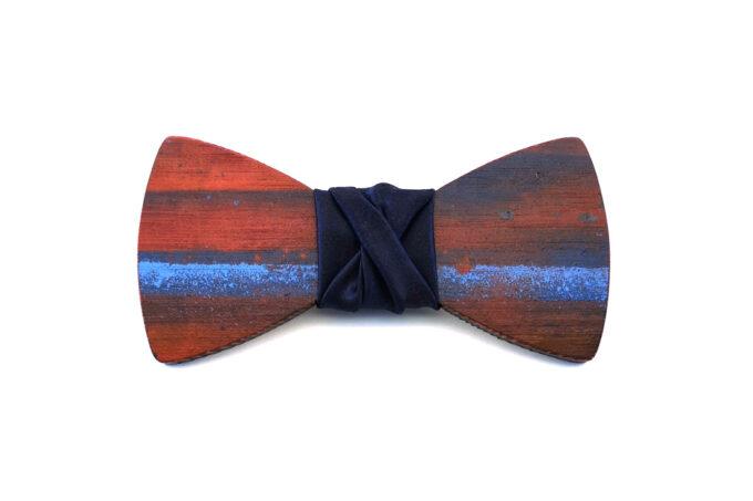 papillon legno Gigetto farfallino action painting blu rosso celeste raso