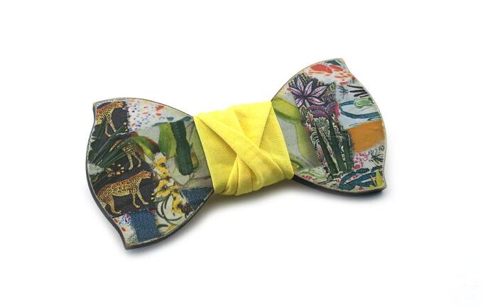 papillon legno collage Gigetto artistico giallo