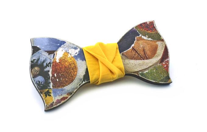 papillon legno frida kahlo collage arte gigetto farfallino giallo