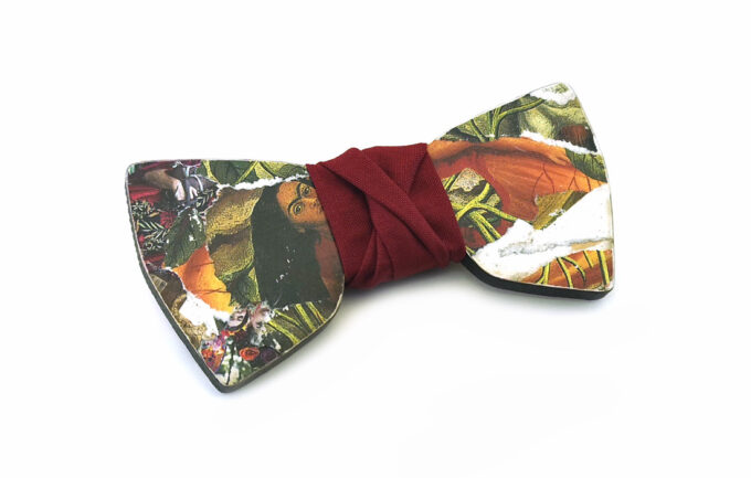 papillon legno frida kahlo collage arte gigetto farfallino rosso scuro