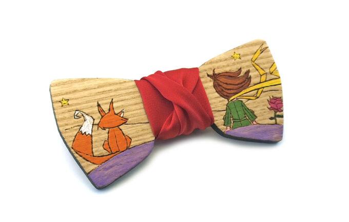 papillon legno piccolo principe dipinto a mano gigetto farfallino raso rosso