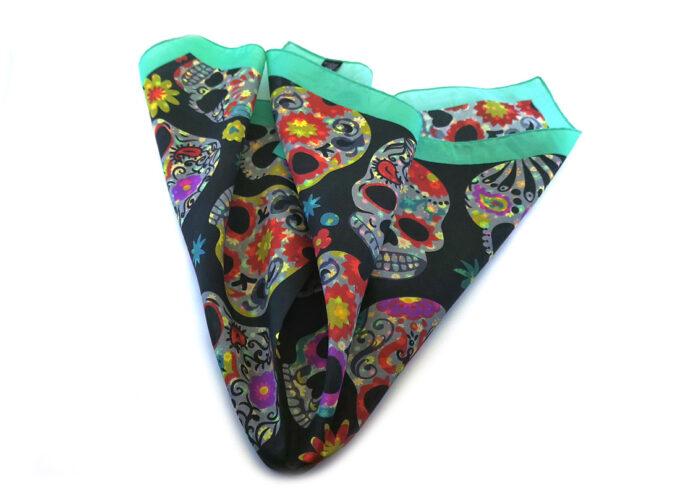 fazzoletto-taschino-seta-pochette-skull-teschi-messicani-mexico-fantasia-fiori-Gigetto