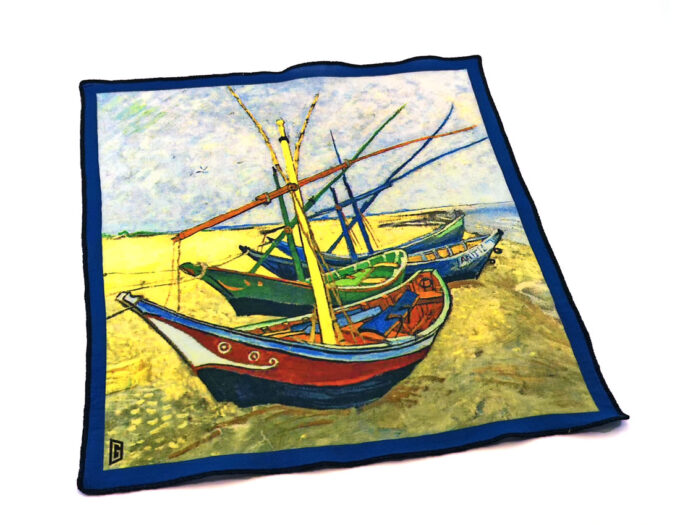 fazzoletto taschino pochette Gigetto Van Gogh barche