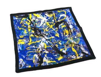 fazzoletto taschino pochette Gigetto action painting blu giallo schizzi vernice