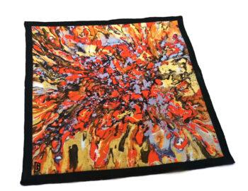 fazzoletto taschino pochette Gigetto action painting rosso giallo schizzi vernice