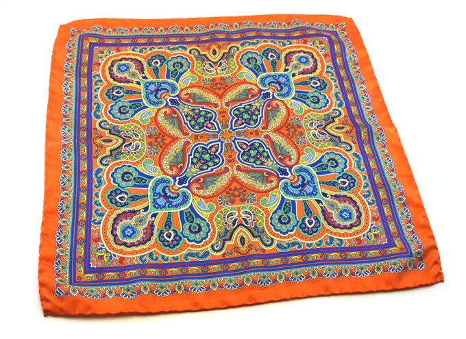 fazzoletto taschino seta pochette fiori paisley arancione blu fantasia Gigetto